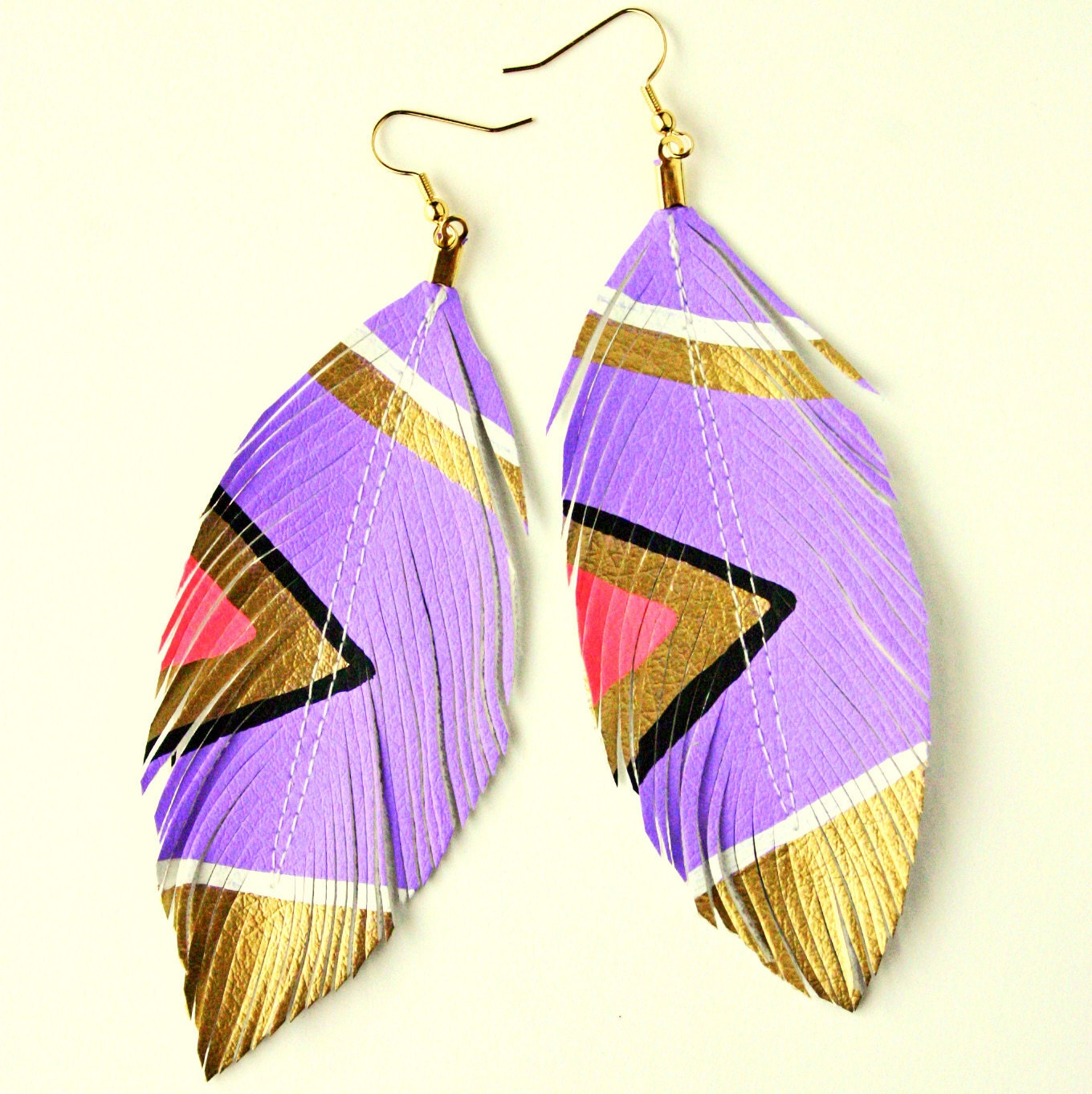 FEATURED in Mpls/St Paul Magazine - SALE - Neon Aztec  -  Lilac Purple - Hand Painted Faux Leather Feather Earrings