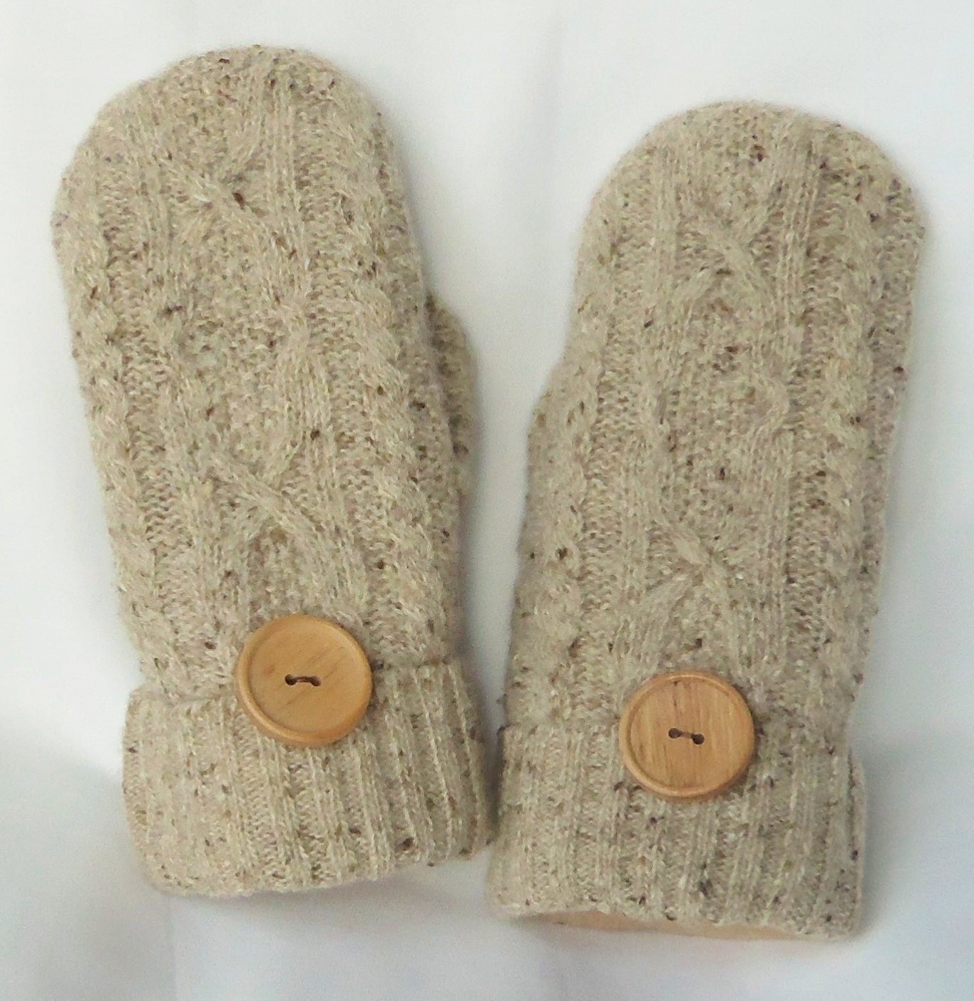 Wool Felted Mittens - Tan With Flecks Of Brown - Womans