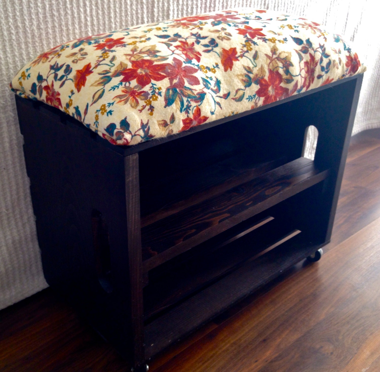 Items similar to infant wood crate shoe bench on etsy for Wood crate bench