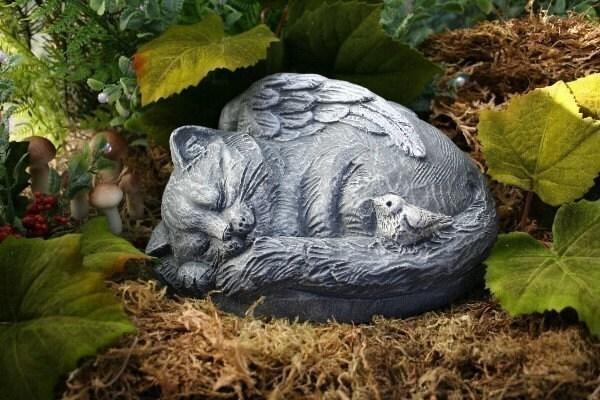Cat Angel Statue Outdoor Garden Art Sculpture By Phenomegnome