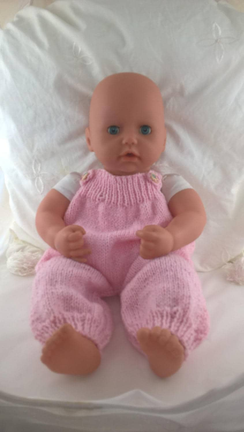 Pink dungarees for 18inch doll. Romper suit for Baby Annabell type doll. Hand knit clothes for 46 cm doll. Roomy babygrow baby doll clothes.