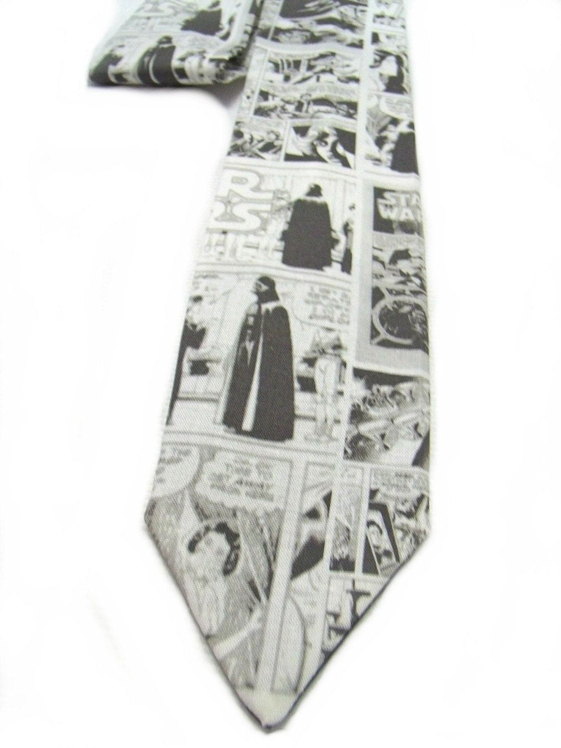 Star Wars Comic Book Page Neck Tie Black Gray and white - TheGeektonian