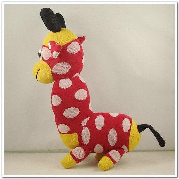 Handmade Sock Monkey Giraffe Stuffed Animal Doll Baby Toys