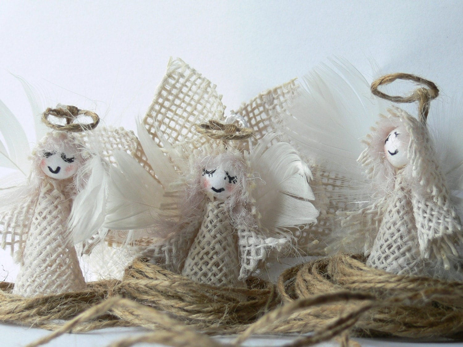 Set of 10 Burlap Angels. Christmas Tree Ornaments. - HSHSTUDIO
