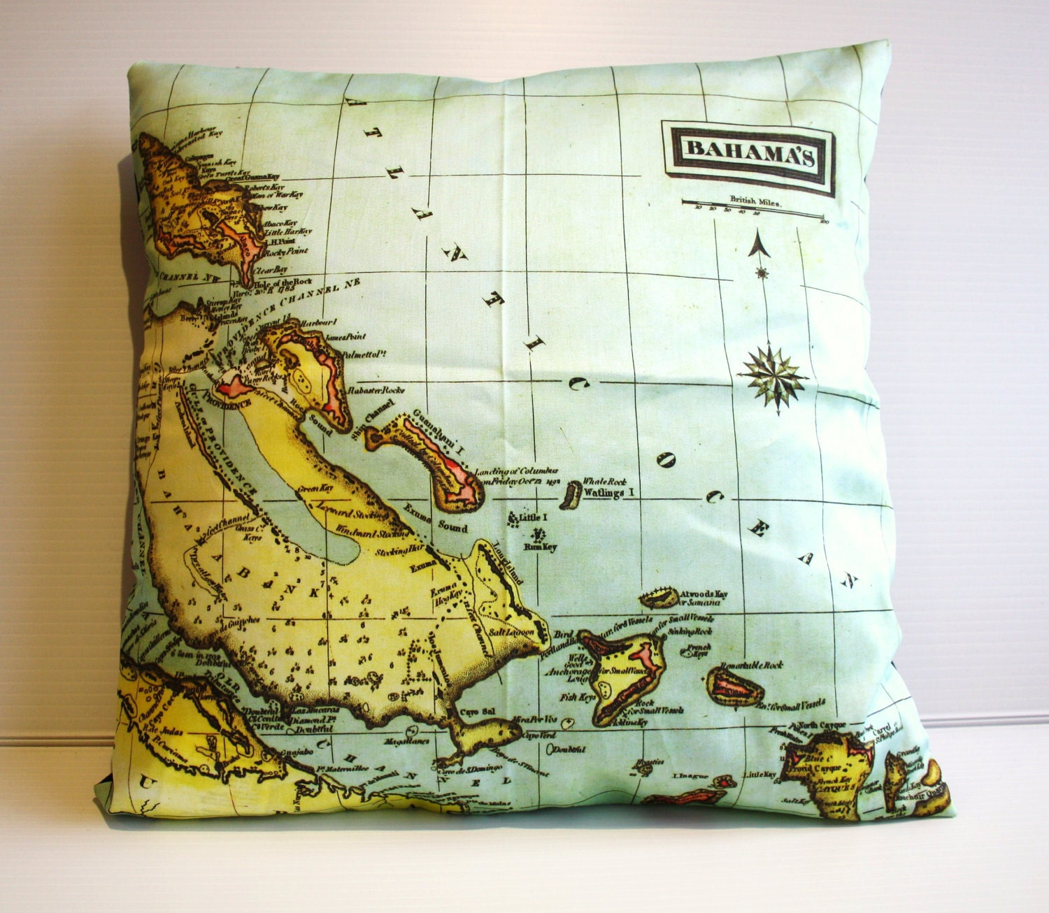 vintage map, cushion THE BAHAMAS organic cotton cushion cover, map cushion, 16 inch, 41cm
