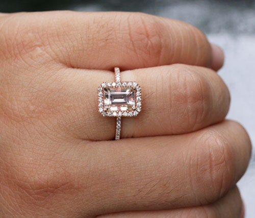 14k Rose Gold 8x6mm Morganite Emerald Cut And By