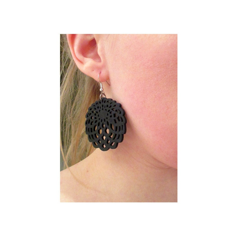 Black Boho Earrings. Black Wood Earrings. Black Carved Earrings. Black Earrings - AGNES