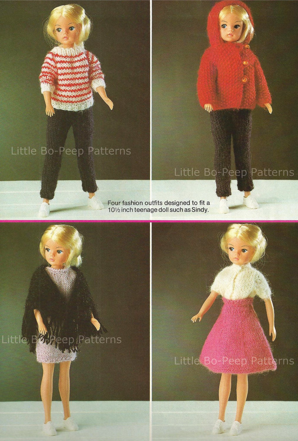 Knitting Patterns For Sindy Dolls : Fashion Doll Sindy type knit four fashion outfits by ...