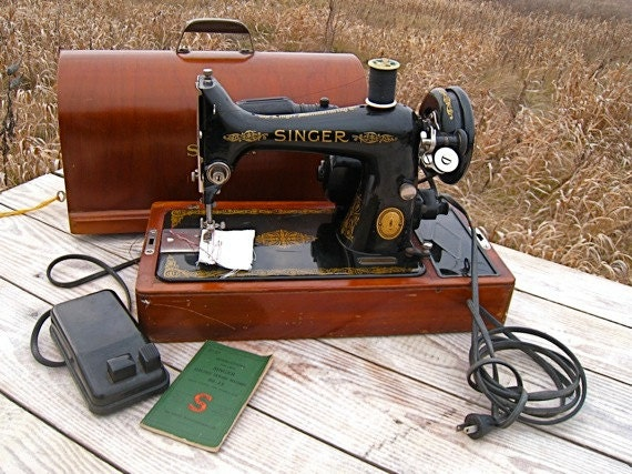 Mid century modern desk more - Vintage Singer Sewing Machine Portable Singer Sewing By
