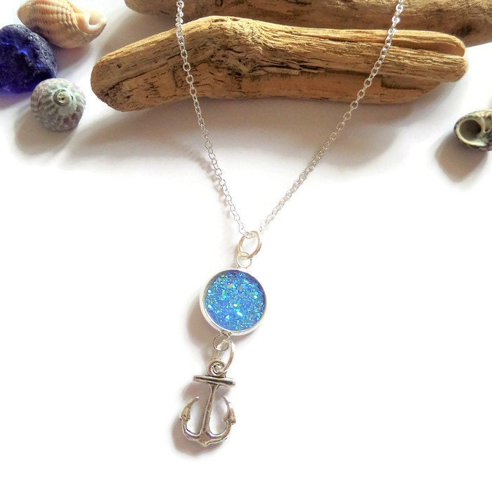 anchor necklace sea necklace sea jewellery ocean jewelery druzy crystal boat gift nautical necklace sea inspired sandykissesuk