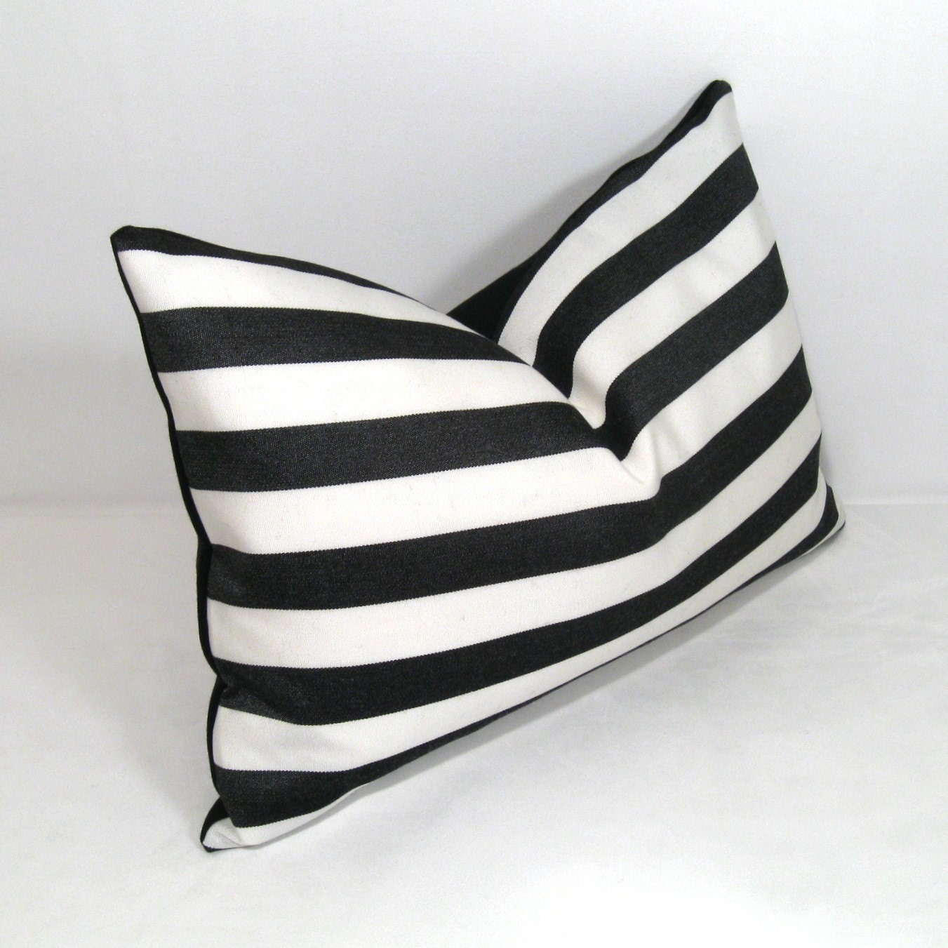 Black and White Pillow Cover - Decorative Striped Outdoor Cushion - Modern Sunbrella 12x18 inch - Mazizmuse