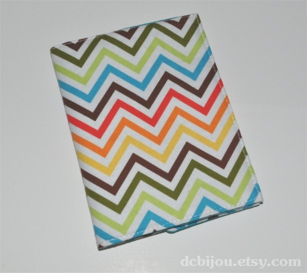 Ready to Ship - Fabric Passport Sleeve. Tropical Chevron Print. Turquoise Lining.
