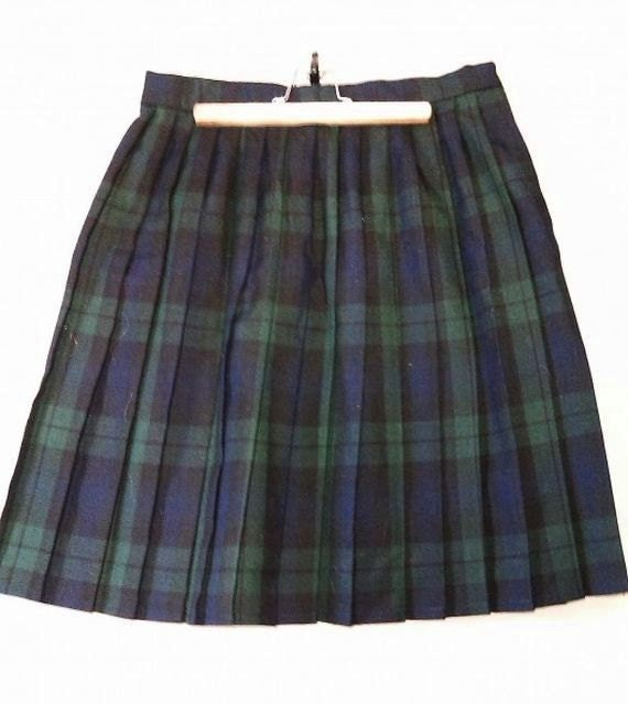 vintage green plaid school skirt by