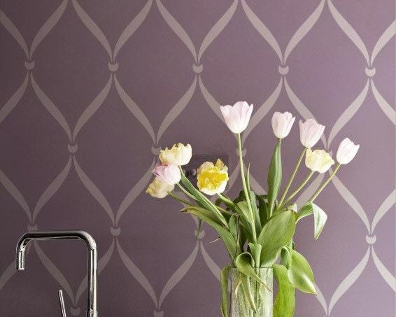 Wall Stencil Pattern Ribbon Lattice Allover By