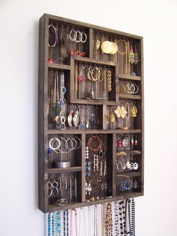 Bedroom decor jewelry holder organizer by barbwireandbarnwood for Room decor jewelry holder