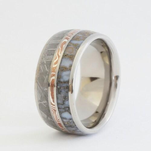 dinosaur bone ring gibeon meteorite band silver by