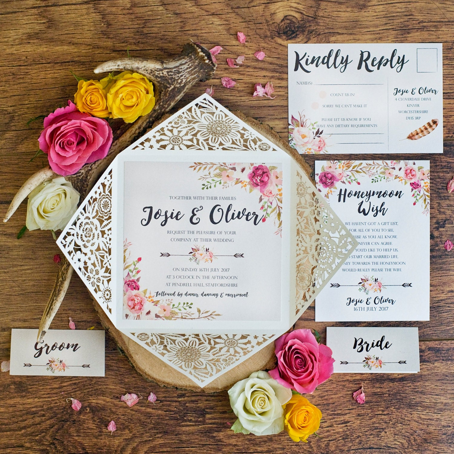 Peony Rustic Floral Design Laser Cut Wedding Invitation Sample