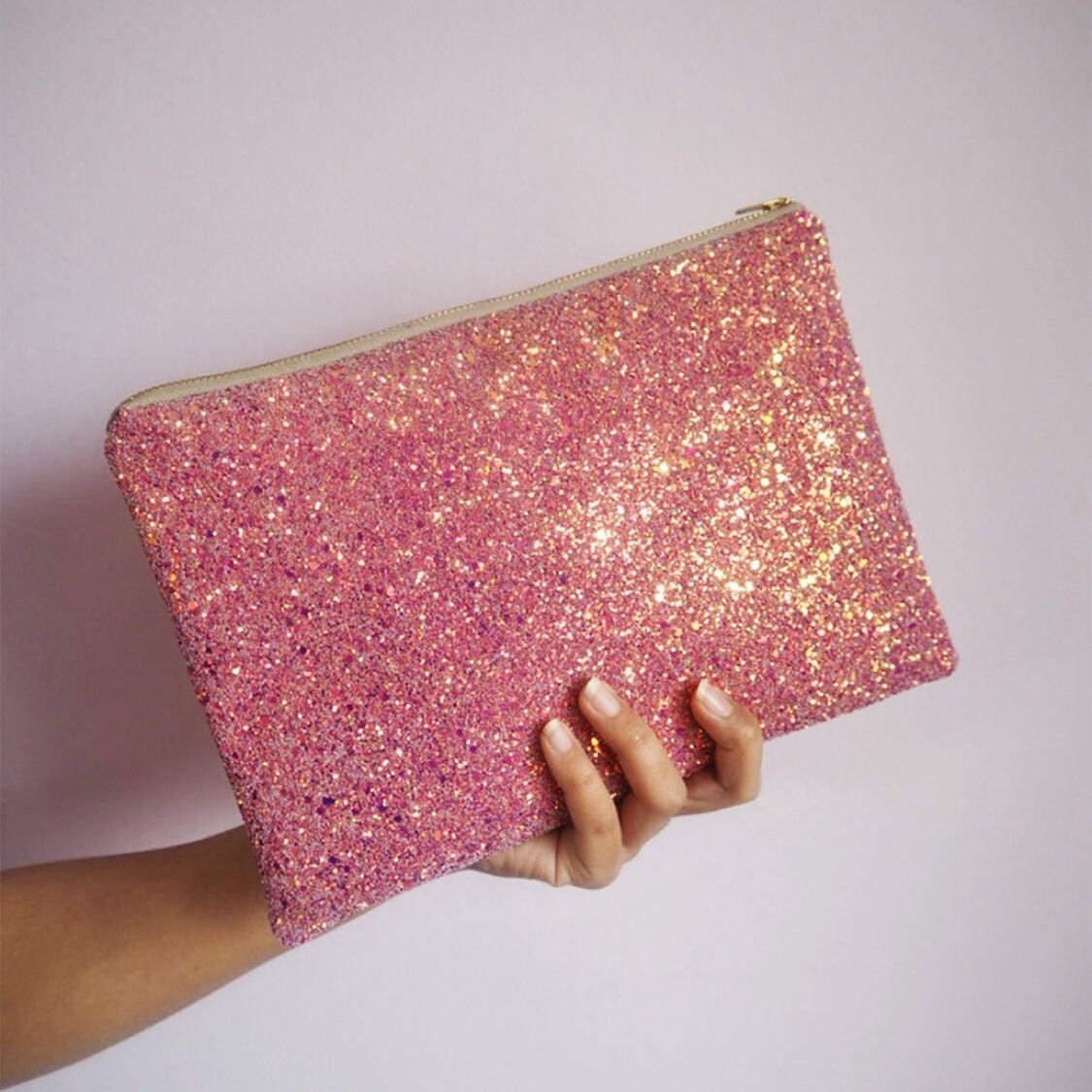 Pink  Rose Gold Glitter Clutch Rose Pink Sparkly Evening Bag Pink Glitter Party Bag Rose Gold Wedding Bag