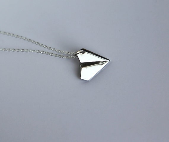 Paper Airplane Necklace 925 Sterling Silver Chain