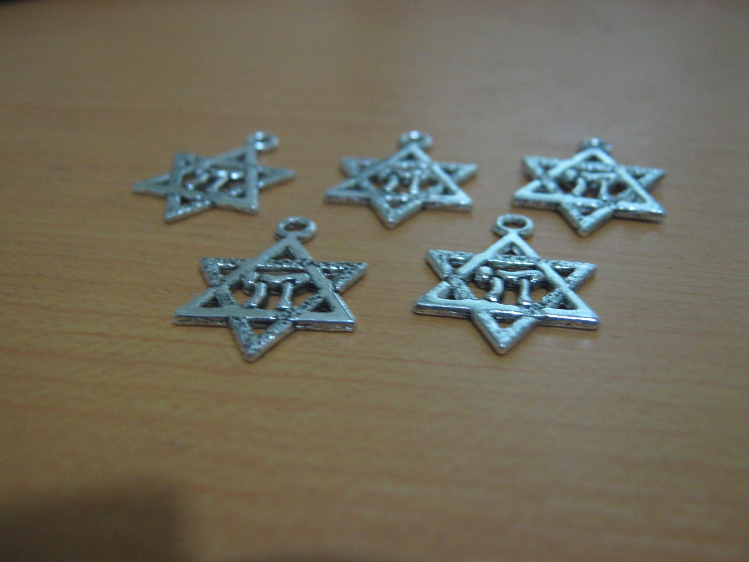 """Star of David Drops - silver color with """"chai"""" - Package of ten"""
