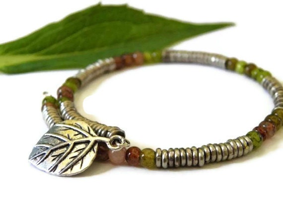 Rustic wrap bracelet earth tone jasper leaf charm silver bohemian boho chic green upcycled - TheRottenRooster