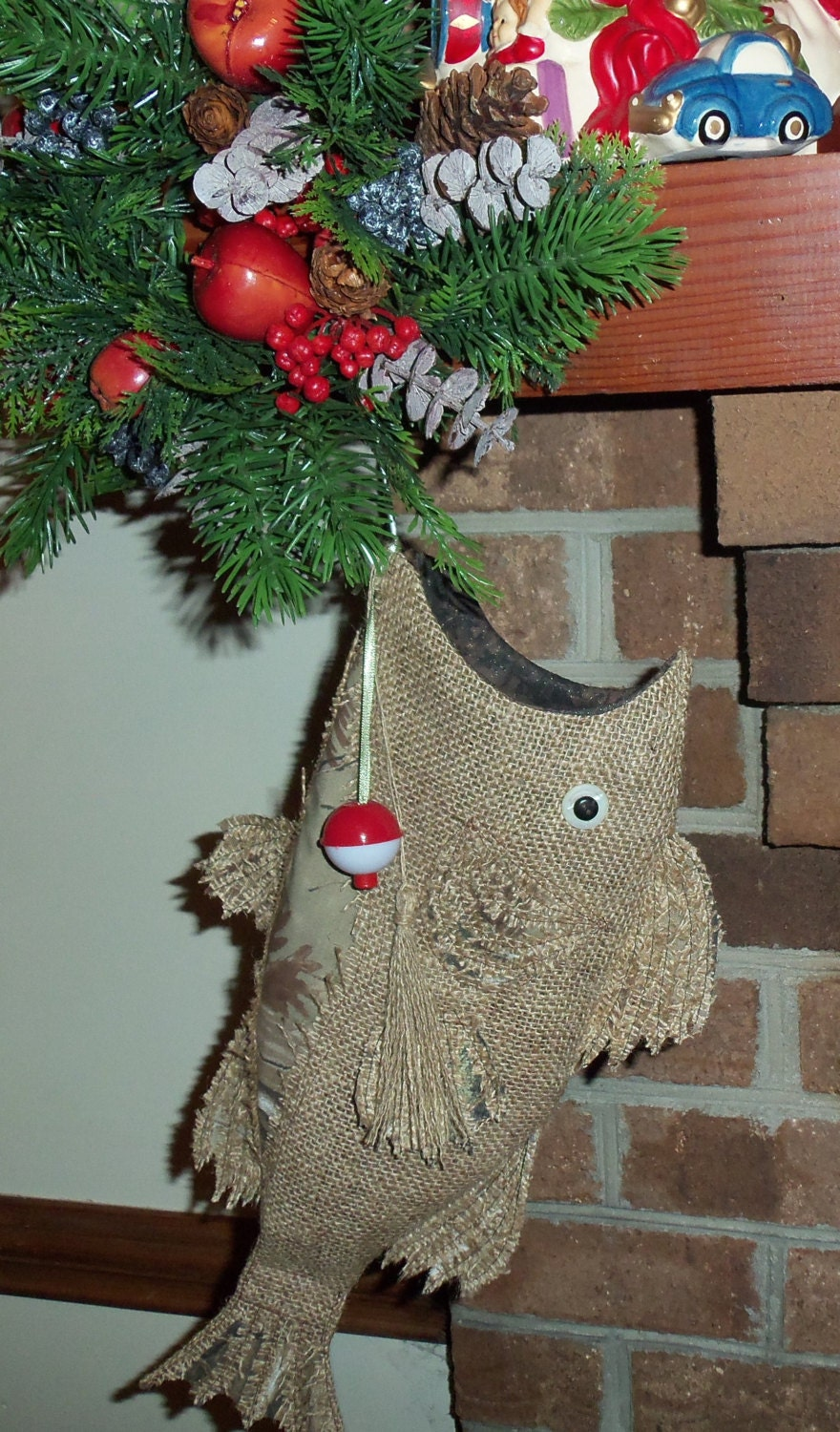 Burlap christmas fish stocking with camo by for Fish christmas stocking