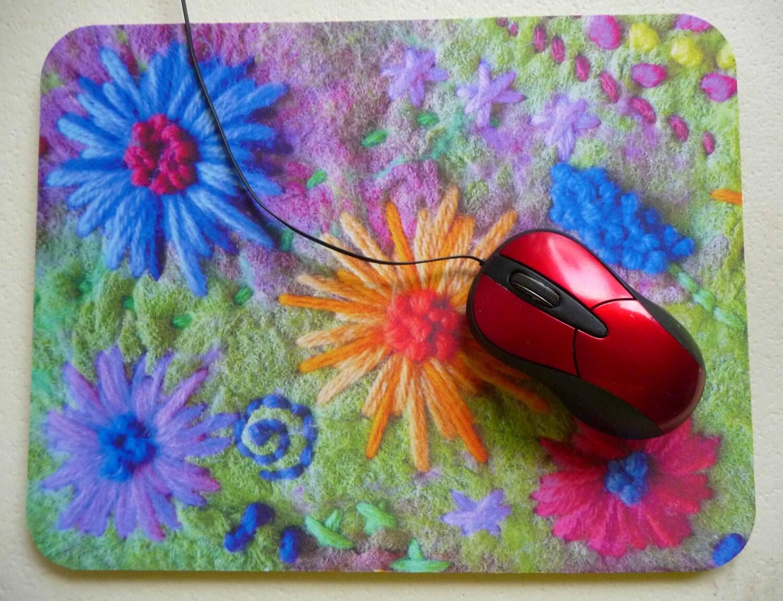 art print mouse pad mat mousepad felt felted flowers