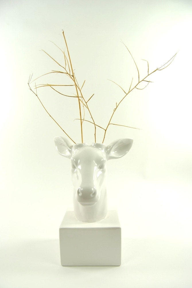 deer head vase white deer vase white faux taxidermy table top
