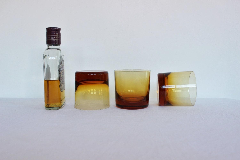Madmen Amber Glassware - x 3 - Lowball - Vintage - Heavy Base - Handmade - BlueyLovesCocoa