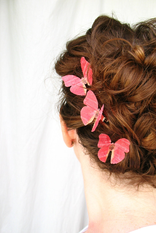 three handmade red silk butterfly hair clips . autumn blush . dupioni silk
