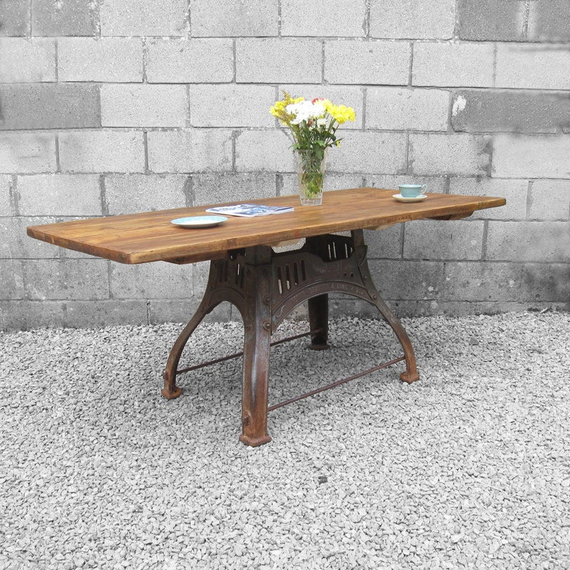 Industrial Kitchen Dining Table Large Rustic Pine Cast Iron Metal Base