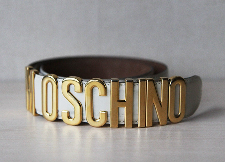 Ivory white MOSCHINO Redwall gold signature letter belt - founditgreat