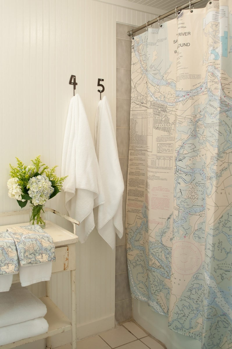 Items Similar To Shower Curtain Savannah Nautical Chart