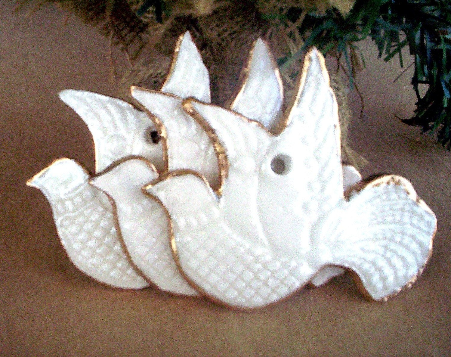 THREE White Lace Dove Ornaments