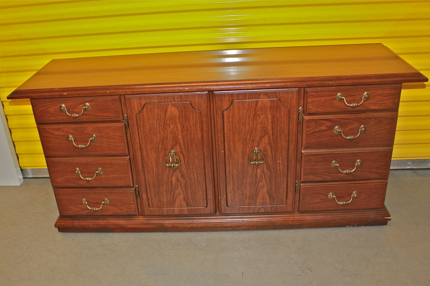 Red Vintage Dresser/ Bright Buffet/ Bedroom by AquaXpressions