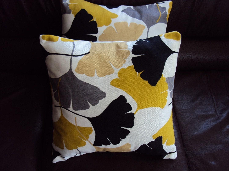 throw pillow yellow mustard black grey gray fan pattern by veedubz. Black Bedroom Furniture Sets. Home Design Ideas