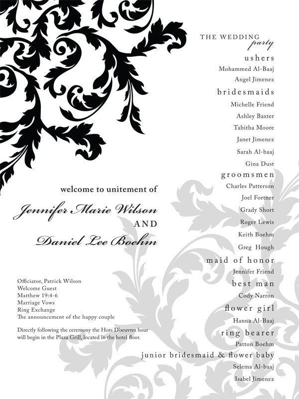 Black and White Scroll Wedding Program Poster From GiDu