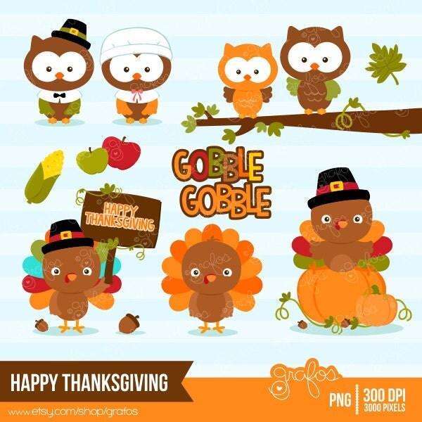 HAPPY THANKSGIVING Digital Clipart Thanksgiving Turkey by grafos