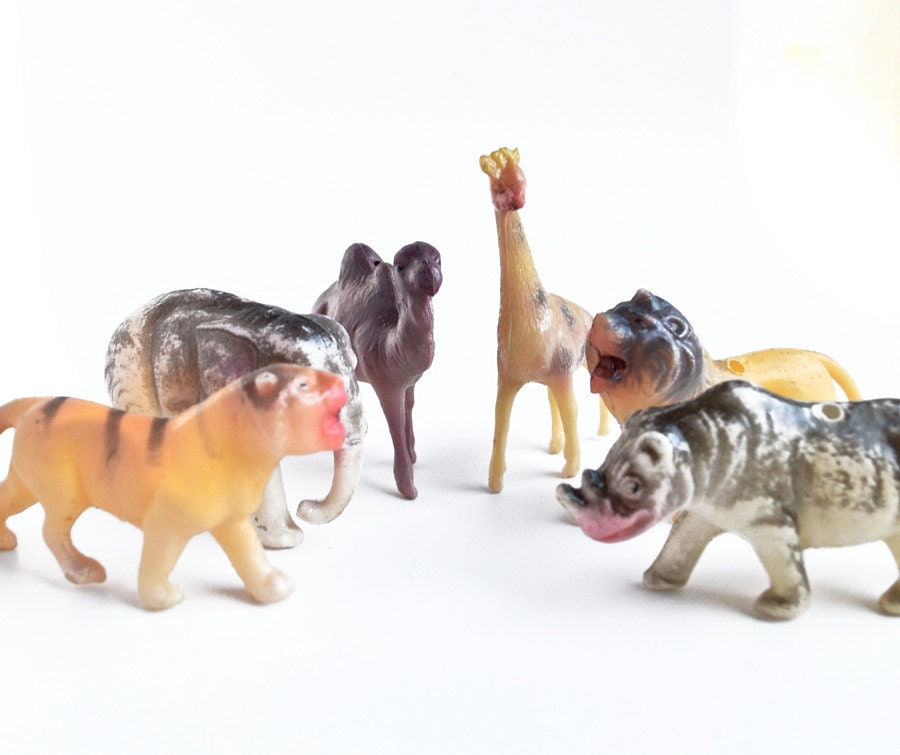 6 small vintage 1960s plastic jungle zoo by elizabethrosenart for Classic jungle house for small animals