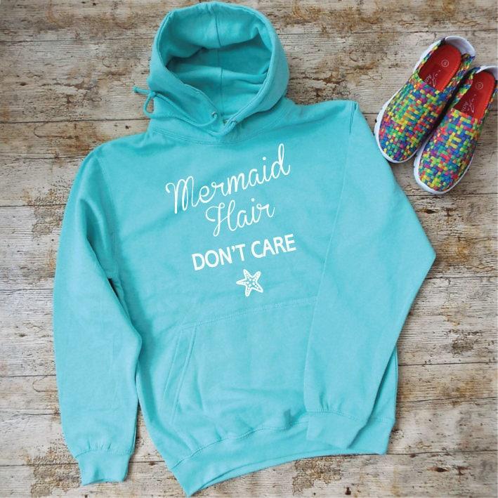 Mermaid Hair Dont Care Hoodie. Unisex Mermaid Hoodie. Mermaid Hooded Sweatshirt. Mermaid Fashion. Mermaid Sweatshirt. Beach Sweater.