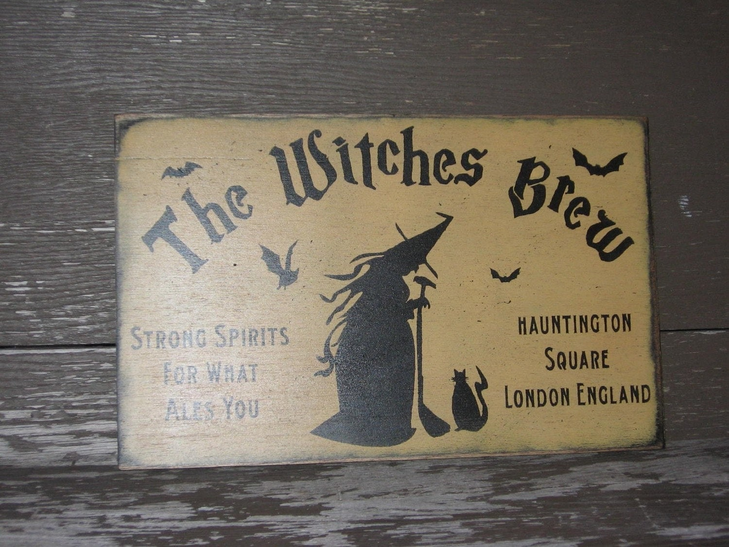 Primivitive Halloween SignThe Witches by frommyheartprims on Etsy