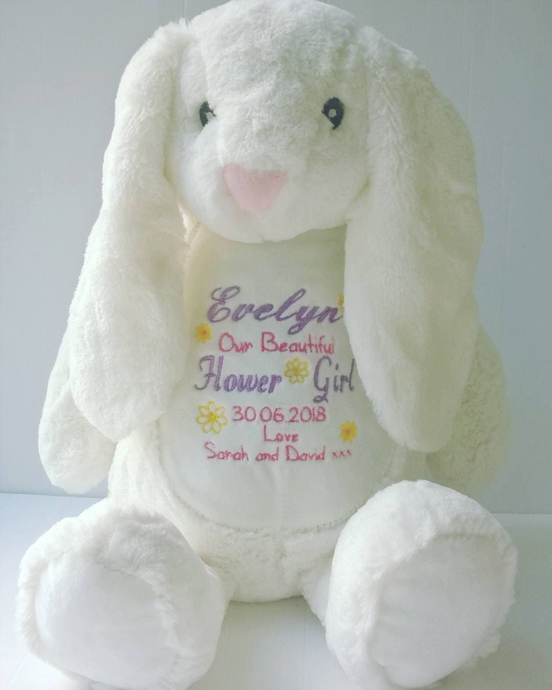 Personalised Flower Girl Bunny Soft Toy Teddy thank you gift, flower girl keepsake, bridesmaid thank you gift, wedding girl personalized