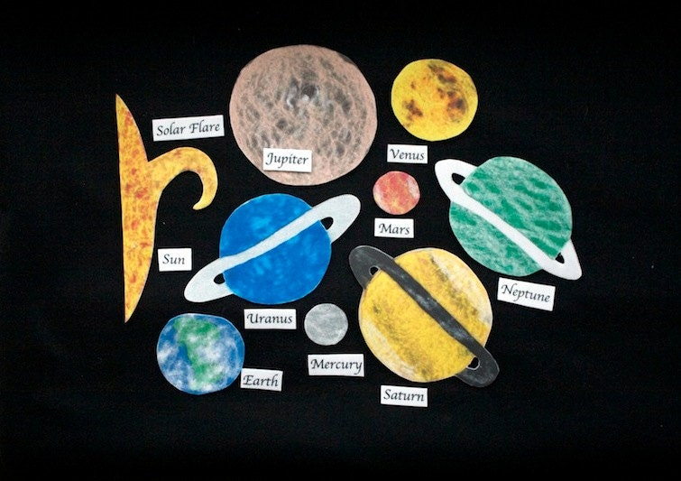 Montessori felt solar system felt board flannel by for Space flannel