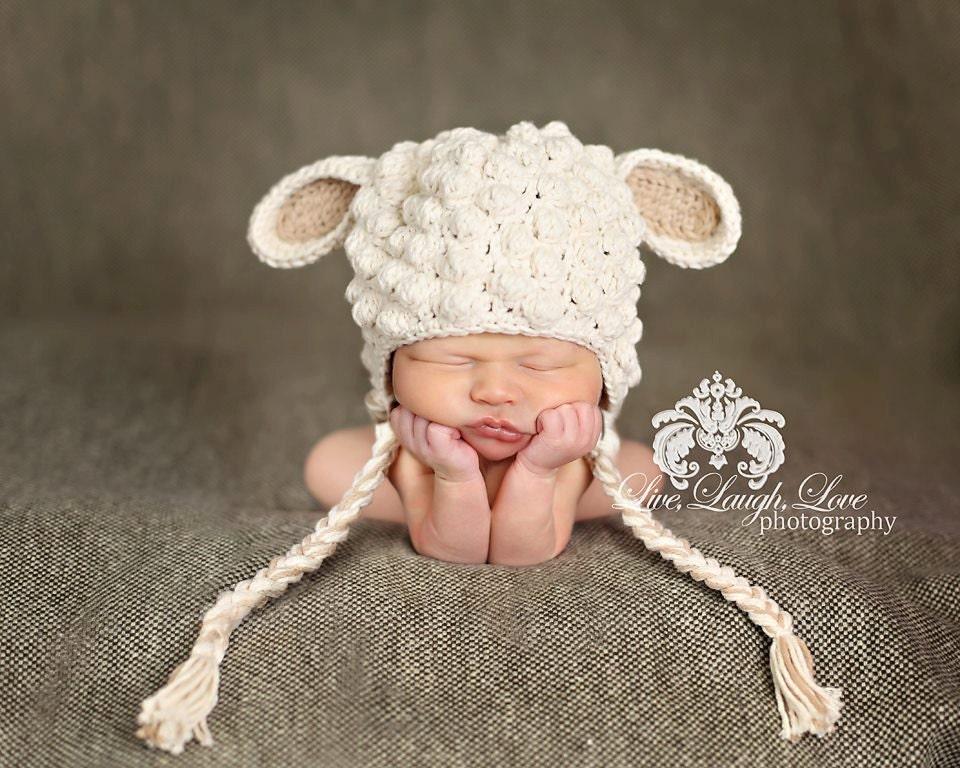 Crochet Pattern For A Lamb Hat : Crochet Little Lamb Hat Size 0-3 mo 100% by ...