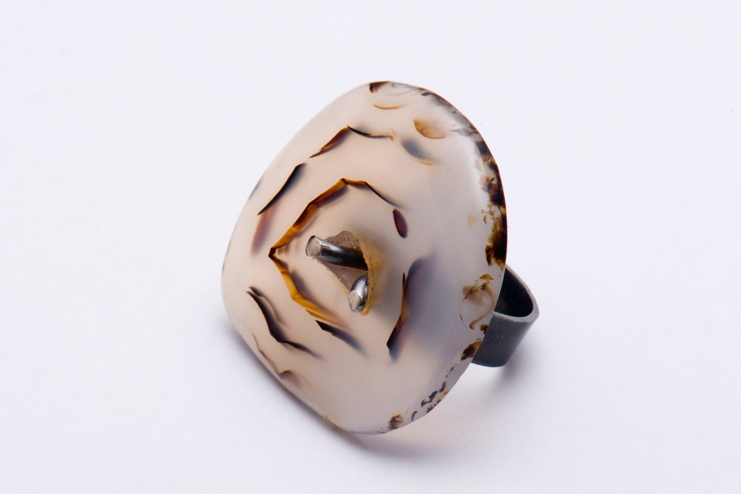 Silver Ring with Montana Dendritic Agate,  size 7 (17,3 mm) - DutchJewelryShop