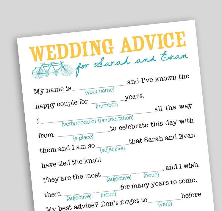 photograph relating to Printable Wedding Mad Libs named Bride Towards Be Nuts Libs Upon Etsy A World wide Do-it-yourself And Wedding ceremony