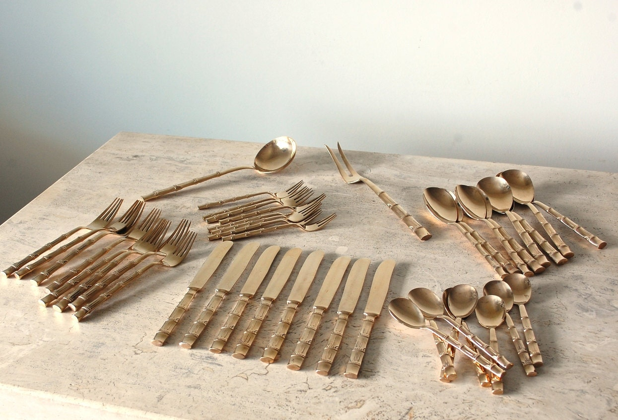 42 pc set brass flatware from siam thailand bamboo by envyalley - Thailand silverware ...