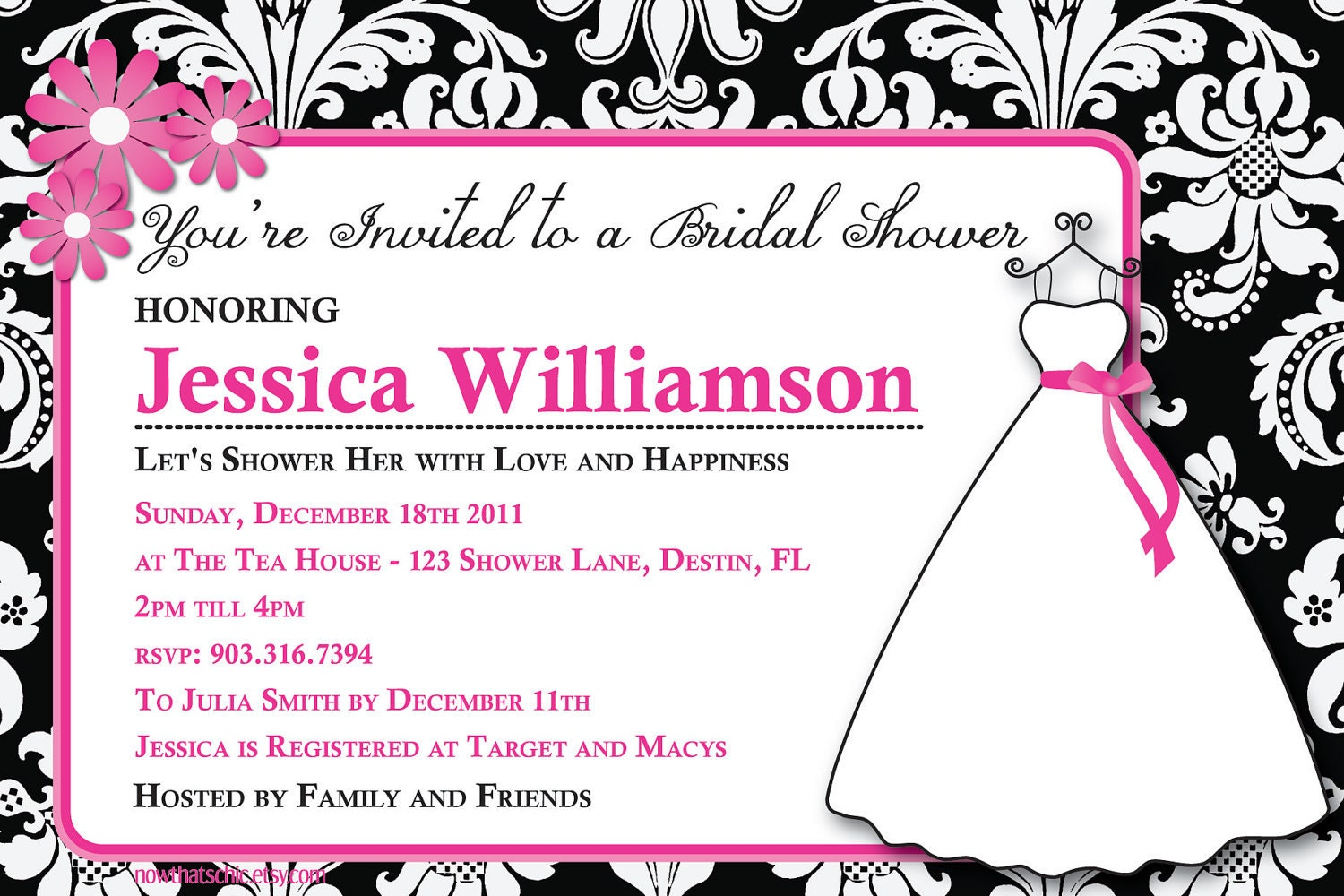 Bridal Shower Invitation - Pink and Black Damask - Digital Invitation ...
