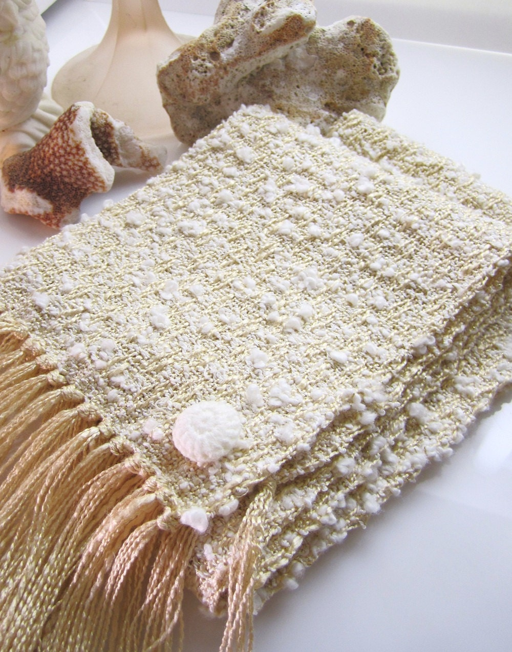 Natural Cream Scarf - Handwoven Scarf - Fashion Scarf - Cotton Boucle Yarn White Scarf - Michelebuttons