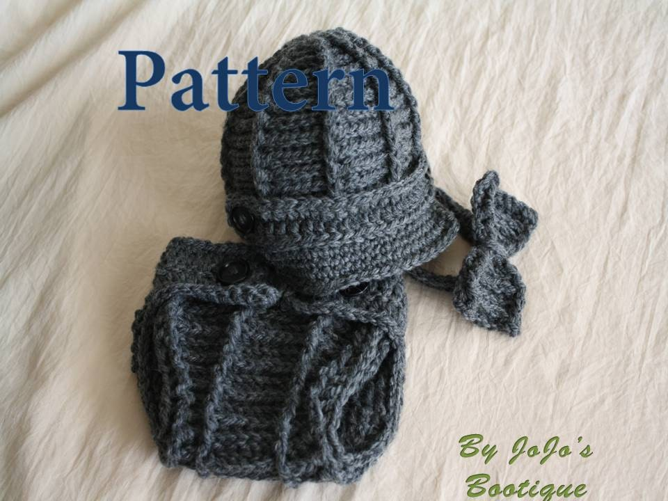 Crochet Baby Hat With Ties Pattern : PDF Newsboy Hat, Cover and Bow Tie PATTERN - Baby Newsboy ...